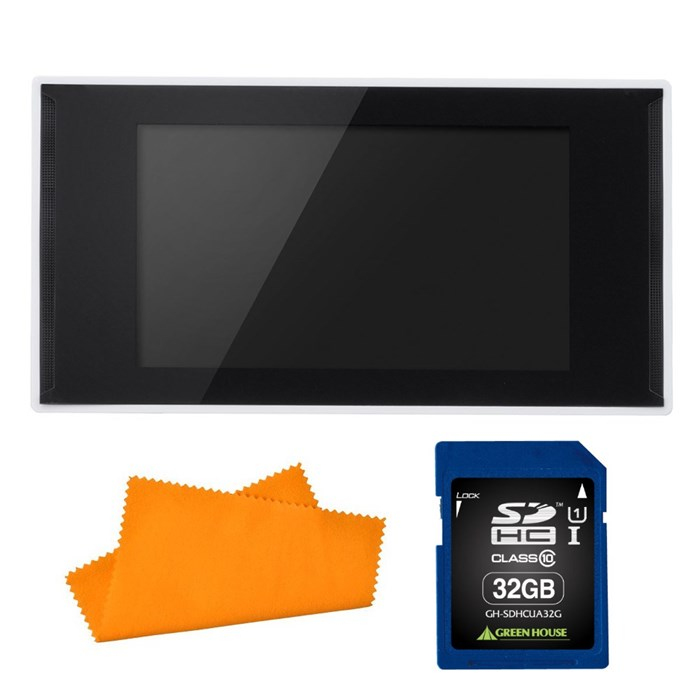 (セット) グリーンハウス(電子POP) GH-EP7E-WH&SDカード32GB(GH-SDHCUA32G) & シリコンクロス (ラッピング不可)(快適家電デジタルライフ)
