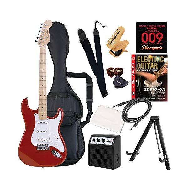 (メーカー直送)(代引不可) ST-180M/MRD メタリックレッド PhotoGenic エレキギター (ホームショッピングオリジナル 初心者入門 ギターセット) (ラッピング不可)