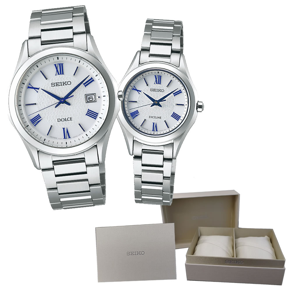 【ペア箱セット】【国内正規品】 SEIKO(セイコー) 【腕時計】 SADM007・SWCP007 DOLCE & EXCELINE ・ペア箱 【ソーラー ペアウォッチ】【快適家電デジタルライフ】