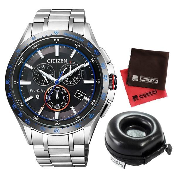 【1本用腕時計ケースセット】 CITIZEN(シチズン) 【腕時計】 BZ1034-52E エコドライブ Bluetooth[BZ103452E]&時計ケース watch-case002&当社オリジナル!マイクロファイバークロス 2枚セット【快適家電デジタルライフ】