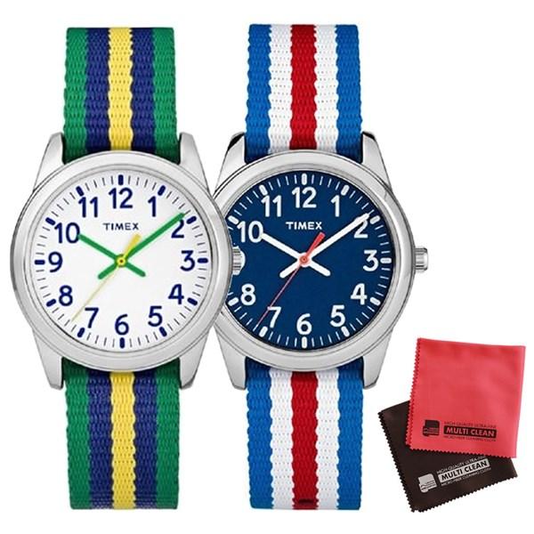 【親子・女子ペアウオッチ・クロス2枚セット】【正規輸入品】[タイメックス]TIMEX タイムティーチャー 腕時計 31mm(キッズ・レディスサイズ) TW7C09900 Blue&TW7C10100 White【快適家電デジタルライフ】