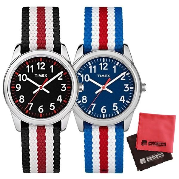 【親子・女子ペアウオッチ・クロス2枚セット】【正規輸入品】[タイメックス]TIMEX タイムティーチャー 腕時計 31mm(キッズ・レディスサイズ) TW7C09900 Blue&TW7C10200 Black【快適家電デジタルライフ】