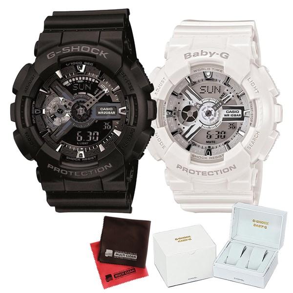【セット】 [カシオ]CASIO 腕時計 GA-110-1BJF メンズ・BA-110-7A3JF レディース・専用ペア箱(Gショック& ベビーG)・マイクロファイバークロス 2枚セット V-81776 GA1101BJF BA1107A3JF [クオーツ]【快適家電デジタルライフ】