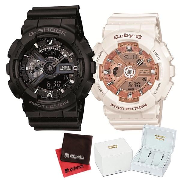 【セット】 [カシオ]CASIO 腕時計 GA-110-1BJF メンズ・BA-110-7A1JF レディース・専用ペア箱(Gショック& ベビーG)・マイクロファイバークロス 2枚セット V-81776 GA1101BJF BA1107A1JF [クオーツ]【快適家電デジタルライフ】