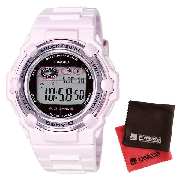 【セット】【国内正規品】[カシオ]CASIO 腕時計 BGR-3003-4JF [ベビーG]BABY-G レディース Pink Bouquet Series[BGR30034JF]&クロス2枚セット【樹脂バンド 電波ソーラー デジタル表示】【快適家電デジタルライフ】