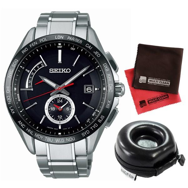 【セット】【国内正規品】[セイコー]SEIKO 腕時計 SAGA241 [ブライツ]BRIGHTZ メンズ&腕時計ケース1本用 丸型&クロス2枚セット【チタンバンド 電波ソーラー 多針アナログ表示】【快適家電デジタルライフ】