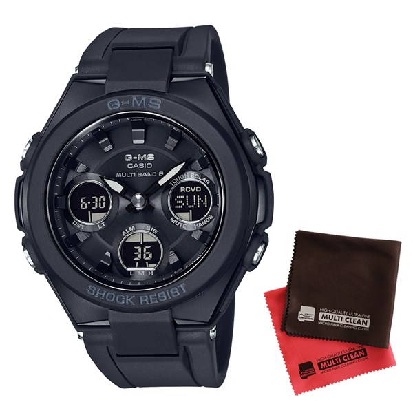 【セット】【国内正規品】[カシオ]CASIO 腕時計 MSG-W100G-1AJF [ベビーG]BABY-G レディース G-MS 電波ソーラー&クロス2枚セット【樹脂バンド アナデジ表示】【快適家電デジタルライフ】