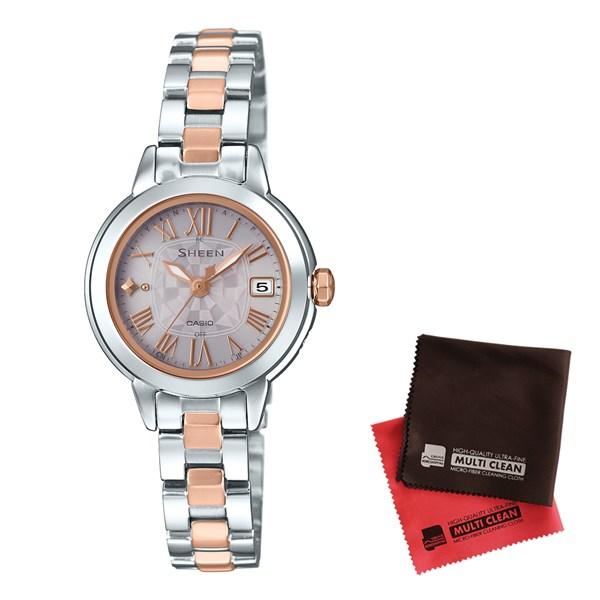【セット】【国内正規品】[カシオ]CASIO 腕時計 SHW-5000DSG-9AJF [シーン]SHEEN レディース 電波ソーラー&クロス2枚セット【ステンレスバンド アナログ表示】【快適家電デジタルライフ】