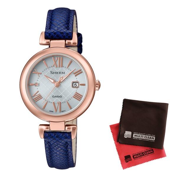 【セット】【国内正規品】[カシオ]CASIO 腕時計 SHS-4502PGL-7AJF [シーン]SHEEN レディース ソーラー&クロス2枚セット【革バンド アナログ表示】【快適家電デジタルライフ】