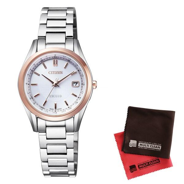 【セット】【国内正規品】[シチズン]CITIZEN 腕時計 ES9374-53A [エクシード]EXCEED レディース エコ・ドライブ電波時計 ダイレクトフライト&クロス2枚セット(快適家電デジタルライフ)