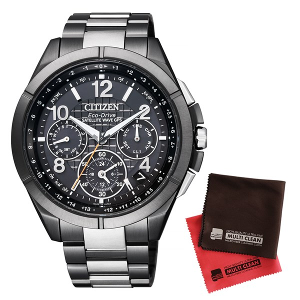 【セット】【国内正規品】[シチズン]CITIZEN 腕時計 CC9075-52E [アテッサ]ATTESA メンズ エコ・ドライブGPS衛星電波時計 Black Titanium Series&クロス2枚セット(快適家電デジタルライフ)