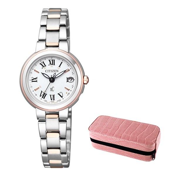 (セット)(国内正規品)(シチズン)CITIZEN 腕時計 ES9004-52A (クロスシー)xC レディース&腕時計収納ケース2本用 ピンク【ステンレスバンド ソーラー電波】(快適家電デジタルライフ)