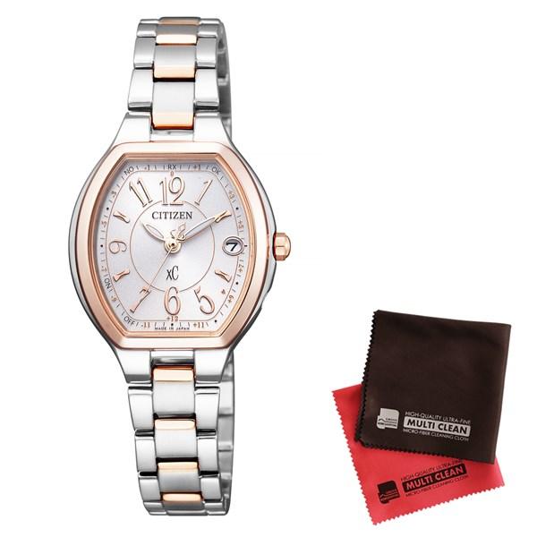 【セット】【国内正規品】[シチズン]CITIZEN 腕時計 ES9364-57A [クロスシー]xC レディース エコ・ドライブ電波時計 HAPPY FLIGHT シリーズ&クロス2枚セット(快適家電デジタルライフ)