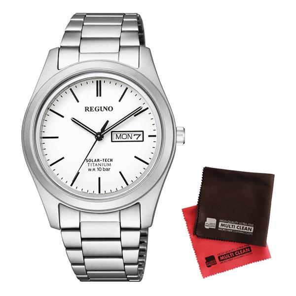 (セット)(国内正規品)(シチズン)CITIZEN 腕時計 KM1-415-11 (レグノ)REGUNO メンズ ソーラーテック&クロス2枚セット【チタンバンド ソーラー アナログ】(快適家電デジタルライフ)