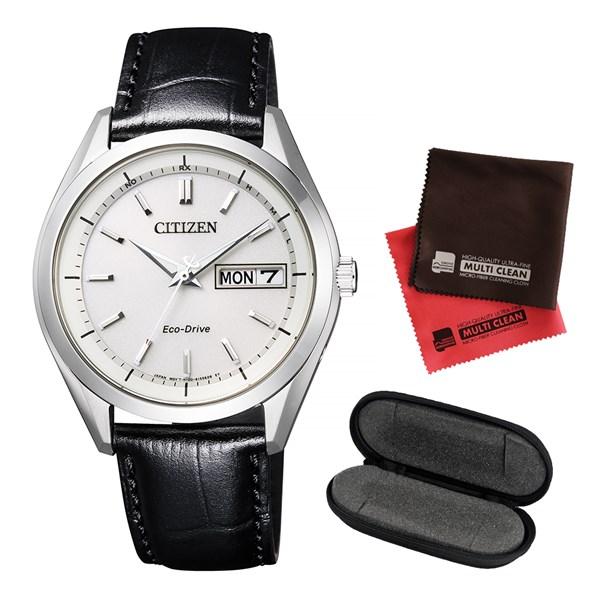 (セット)(国内正規品)(シチズン)CITIZEN 腕時計 AT6060-00A Cコレクション メンズ エコ・ドライブ電波時計&腕時計ケース1本用&クロス2枚セット【カーフバンド ソーラー電波時計 アナログ】(快適家電デジタルライフ)