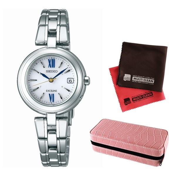 (セット)(国内正規品)(セイコー)SEIKO 腕時計 SWCW131 DOLCE&EXCELINE(ドルチェ&エクセリーヌ) レディース&腕時計収納ケース2本用 ピンク&クロス2枚(チタンバンド 電波ソーラー)(快適家電デジタルライフ)