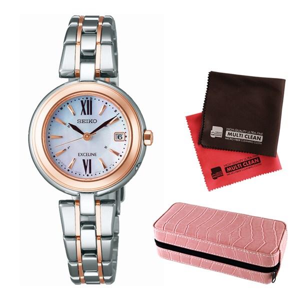 (セット)(国内正規品)(セイコー)SEIKO 腕時計 SWCW134 DOLCE&EXCELINE(ドルチェ&エクセリーヌ) レディース&腕時計収納ケース2本用 ピンク&クロス2枚(チタンバンド 電波ソーラー)(快適家電デジタルライフ)