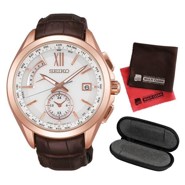 (セット)(国内正規品)(セイコー)SEIKO 腕時計 SAGA252 (ブライツ)BRIGHTZ メンズ&腕時計ケース1本用&クロス2枚セット【ワニ革バンド ソーラー電波 多針アナログ表示】(快適家電デジタルライフ)