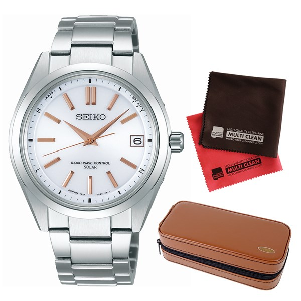 (セット)(国内正規品)(セイコー)SEIKO 腕時計 SAGZ085 (ブライツ)BRIGHTZ メンズ&腕時計収納ケース2本用 ブラウン&クロス2枚(チタンバンド 電波ソーラー アナログ表示)(快適家電デジタルライフ)