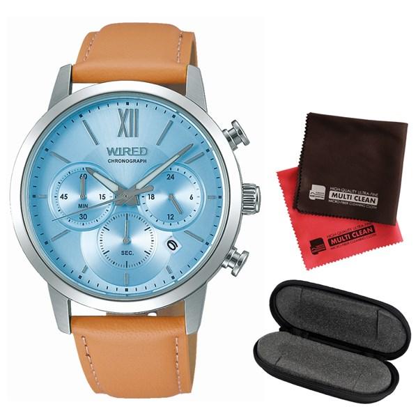 【セット】【国内正規品】[セイコー]SEIKO 腕時計 AGAT415 [ワイアード]WIRED メンズ&腕時計ケース1本用&クロス2枚セット【革バンド クオーツ 多針アナログ表示】(快適家電デジタルライフ)