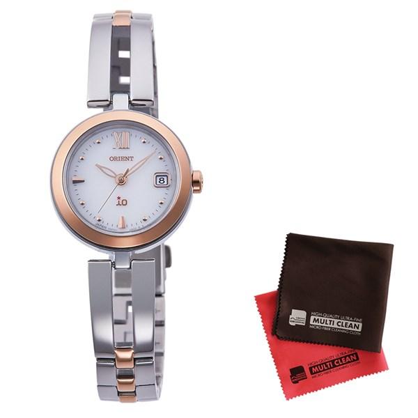 【セット】【国内正規品】[オリエント]ORIENT 腕時計 RN-WG0002S io[イオ] ナチュラル&プレーン レディース&クロス2枚セット【ステンレスバンド ソーラー】【快適家電デジタルライフ】