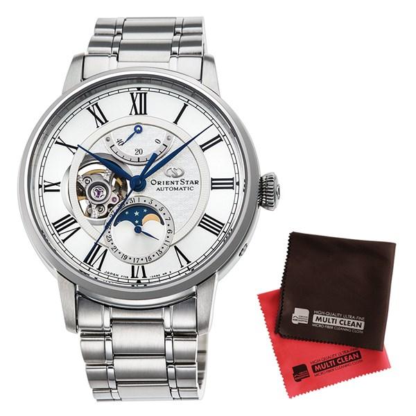 【セット】【国内正規品】[オリエント]ORIENT 腕時計 RK-AM0005S [オリエントスター]ORIENTSTAR メカニカルムーンフェイズ メンズ&クロス2枚セット【ステンレスバンド 自動巻き】【快適家電デジタルライフ】