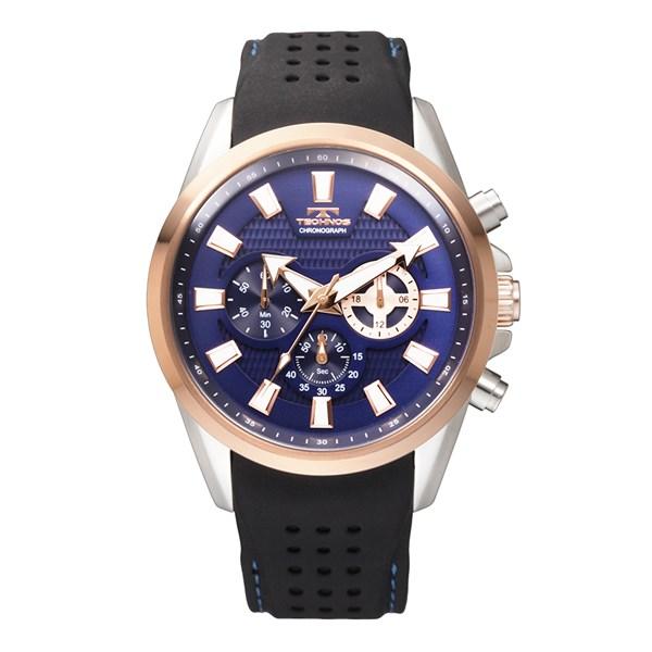 【正規輸入品】(テクノス)TECHNOS 腕時計 T6396PN メンズ クロノグラフ ピンクゴールドケース/ブルー文字盤(シリコンバンド クオーツ 多針アナログ)(快適家電デジタルライフ)