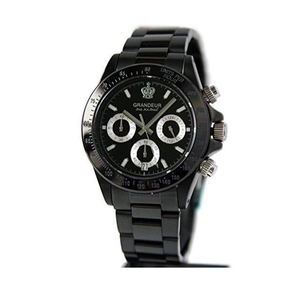 【正規輸入品】(グランドール)GRANDEUR 腕時計 JGR005W1 メンズ 日本製 ブラックIP加工 クロノグラフ(ステンレスバンド クオーツ 多針アナログ)(快適家電デジタルライフ)