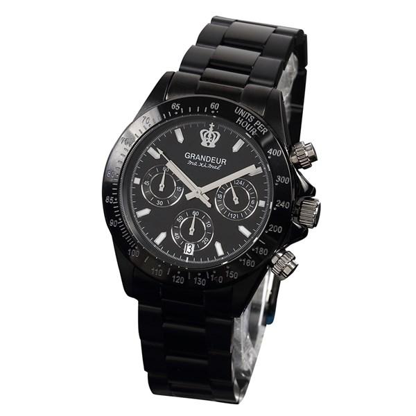 【正規輸入品】(グランドール)GRANDEUR 腕時計 JGR005W3 メンズ 日本製 ブラックIP加工 クロノグラフ(ステンレスバンド クオーツ 多針アナログ)(快適家電デジタルライフ)