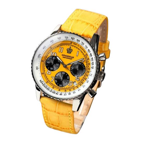 【正規輸入品】(グランドール)GRANDEUR 腕時計 JOSC028W3 メンズ 日本製 クロノグラフ イエロー(牛革バンド クオーツ 多針アナログ)(快適家電デジタルライフ)