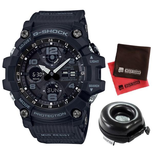 (セット)(国内正規品)(カシオ)CASIO 腕時計 GWG-100-1AJF (ジーショック)G-SHOCK メンズ マッドマスター&腕時計ケース・クロス2枚(樹脂バンド 電波ソーラー アナデジ)(快適家電デジタルライフ)