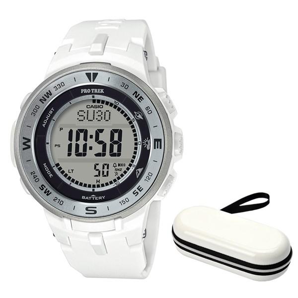 (セット)(国内正規品)(カシオ)CASIO 腕時計 PRG-330-7JF (プロトレック)PROTREK メンズ&腕時計ケース1本用 ホワイト(樹脂バンド ソーラー デジタル)(快適家電デジタルライフ)