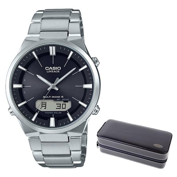(セット)(国内正規品)(カシオ)CASIO 腕時計 LCW-M510D-1AJF (リニエージ)LINEAGE メンズ&時計・アクセサリーケース ブラック(ステンレスバンド 電波ソーラー アナログ)(快適家電デジタルライフ)