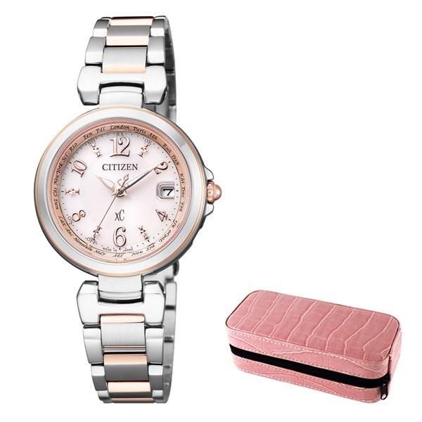 (セット)(国内正規品)(シチズン)CITIZEN 腕時計 EC1036-53W (クロスシー)xC レディース ハッピーフライト エコドライブ電波時計&腕時計ケース2本用 ピンク(ステンレスバンド 電波ソーラー アナログ)(快適家電デジタルライフ)