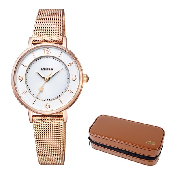(セット)(国内正規品)(シチズン)CITIZEN 腕時計 KP3-465-13 (ウィッカ)wicca レディース&腕時計ケース2本用 ブラウン(ステンレスバンド ソーラー アナログ)(快適家電デジタルライフ)
