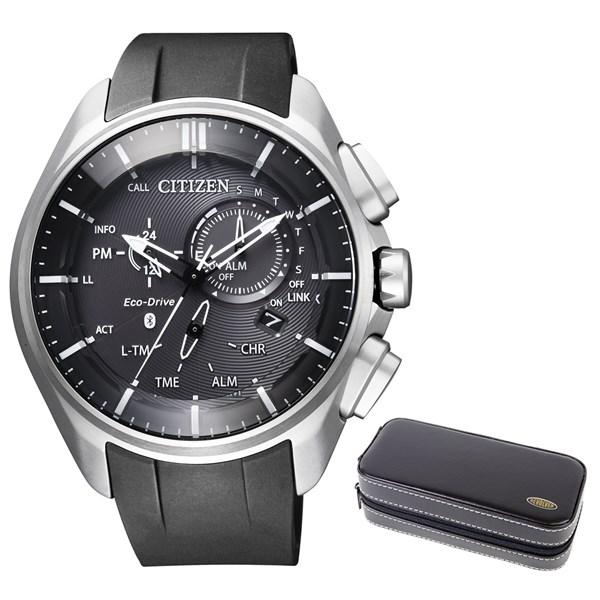 【時計ケースセット】【国内正規品】(シチズン)CITIZEN 腕時計 BZ1040-09E エコドライブ Bluetooth メンズ スマートウォッチ クロノグラフ(ウレタンバンド ソーラー 多針アナログ)(快適家電デジタルライフ)