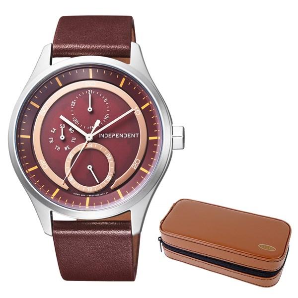 (セット)(国内正規品)(シチズン)CITIZEN 腕時計 KB1-317-90 (インディペンデント)INDEPENDENT メンズ INNOVATIVE line&腕時計ケース2本用 ブラウン(牛革バンド ソーラー 多針アナログ)(快適家電デジタルライフ)