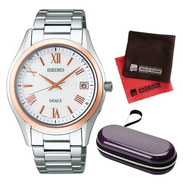 (セット)(国内正規品)(セイコー)SEIKO 腕時計 SADZ200 DOLCE & EXCELINE(ドルチェ&エクセリーヌ) メンズ&腕時計ケース1本用・クロス2枚(ステンレスバンド ソーラー電波 アナログ)(快適家電デジタルライフ)
