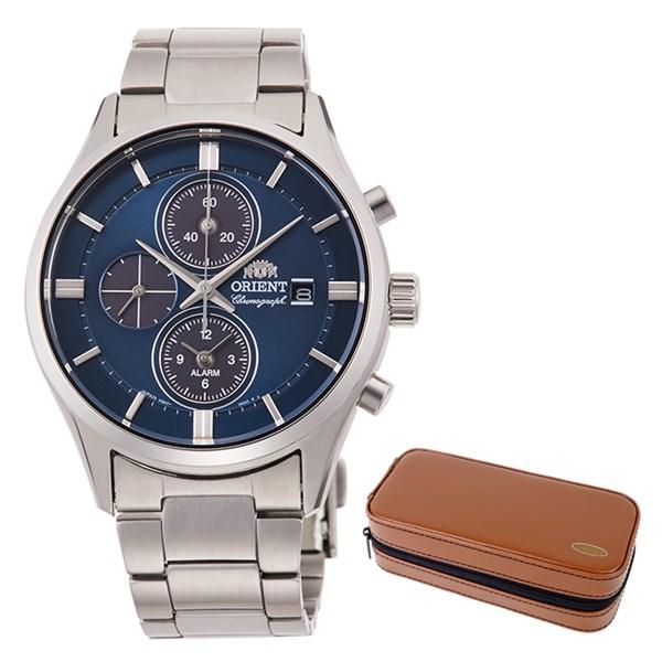 【時計ケースセット】【国内正規品】(オリエント)ORIENT 腕時計 RN-TY0003L (コンテンポラリー)CONTEMPORARY メンズ クロノグラフ&腕時計ケース2本用 ブラウン(ステンレスバンド ソーラー 多針アナログ)(快適家電デジタルライフ)