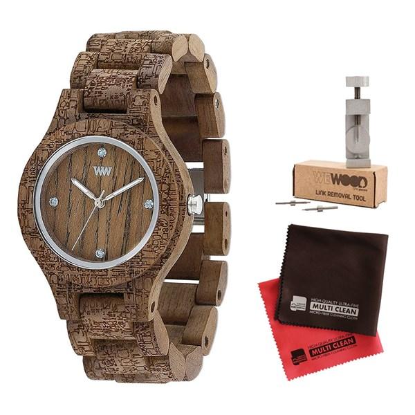 【セット】【正規輸入品】(ウィーウッド)WEWOOD 腕時計 9818161 ANTEA NUT ROUGH FABRIC レディース 木製&バンド調整キット・クロス2枚(木製バンド クオーツ アナログ)(快適家電デジタルライフ)