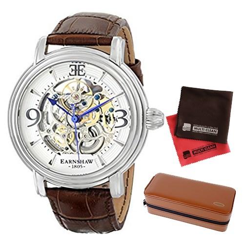【セット】【正規輸入品】(アーンショウ)EARNSHAW 腕時計 ES-8011-01 LONGCASE メンズ&時計アクセサリーケース ブラウン・クロス2枚(レザーバンド 自動巻き アナログ)(快適家電デジタルライフ)