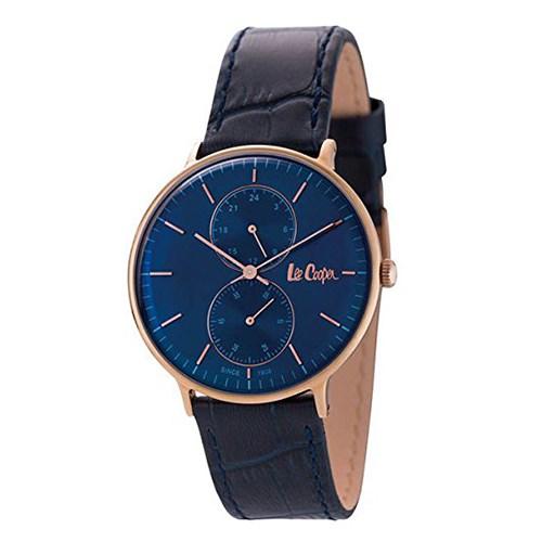 【正規輸入品】(リークーパー)Lee Cooper 腕時計 LC6381.499 ネイビー/ローズゴールド ネイビーレザーベルト メンズ(革バンド クオーツ 多針アナログ)(快適家電デジタルライフ)