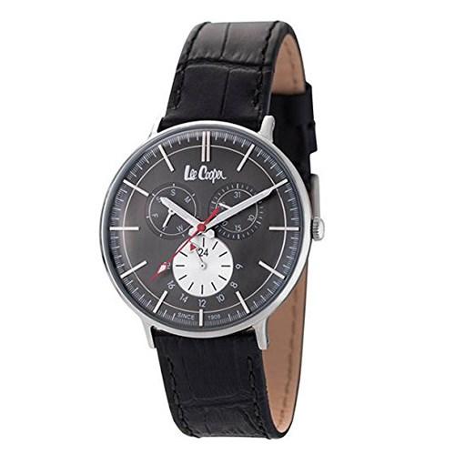 【正規輸入品】(リークーパー)Lee Cooper 腕時計 LC6383.361 ブラックレザーベルト メンズ(革バンド クオーツ 多針アナログ)(快適家電デジタルライフ)