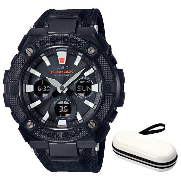 (ケースセット)(国内正規品)(カシオ)CASIO 腕時計 GST-W130BC-1AJF (ジーショック)G-SHOCK メンズ G-STEEL&腕時計ケース1本用 ホワイト(合皮/クロスバンド 電波ソーラー アナデジ)(快適家電デジタルライフ)