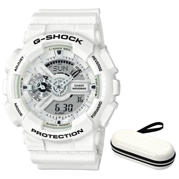 (ケースセット)(国内正規品)(カシオ)CASIO 腕時計 GA-110MW-7AJF (ジーショック)G-SHOCK メンズ&腕時計ケース1本用 ホワイト(樹脂バンド クオーツ アナデジ)(快適家電デジタルライフ)