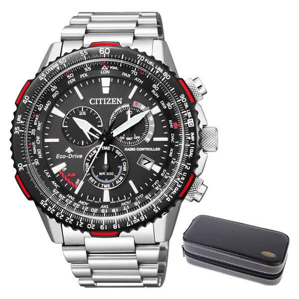 (時計ケースセット)(国内正規品)(シチズン)CITIZEN 腕時計 CB5001-57E (プロマスター)PROMASTER SKY メンズ エコドライブ 電波 ダイレクトフライト クロノグラフ(ステンレスバンド 電波ソーラー 多針アナログ)(快適家電デジタルライフ)