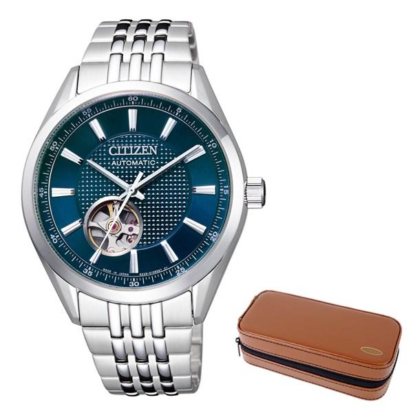 (時計ケースセット)(国内正規品)(シチズン)CITIZEN 腕時計 NH9110-81L シチズンコレクション メンズ クラシカル オープンハート&腕時計ケース2本用(ステンレスバンド 自動巻き(手巻付) アナログ)(快適家電デジタルライフ)