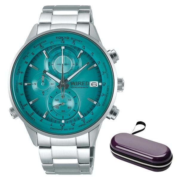 (ケースセット)(国内正規品)(セイコー)SEIKO 腕時計 AGAW451 (ワイアード)WIRED メンズ クロノグラフ&腕時計ケース1本用 パープル(ステンレスバンド クオーツ 多針アナログ)(快適家電デジタルライフ)