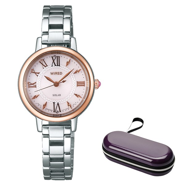 (ケースセット)(国内正規品)(セイコー)SEIKO 腕時計 AGED097 (ワイアードエフ)WIREDf レディース&腕時計ケース1本用 パープル(ステンレスバンド ソーラー アナログ)(快適家電デジタルライフ)