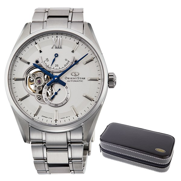 (時計ケースセット)(国内正規品)(オリエントスター)ORIENTSTAR 腕時計 RK-HJ0001S コンテンポラリー メンズ スリムスケルトン(ステンレスバンド 自動巻き(手巻付) 多針アナログ)(快適家電デジタルライフ)